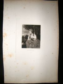 After Joshua Reynolds C1830 Folio Mezzotint. Mrs Stanhope, Pretty Lady